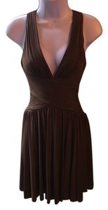 BCBGMAXAZRIA Halter Fitted Structured Open Back Dress