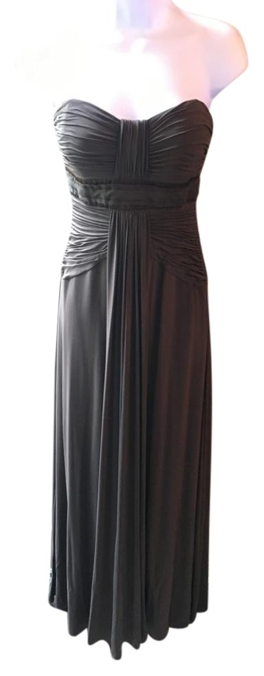 Bcbgmaxazria Brown Strapless With Greek Style Draping Long Formal