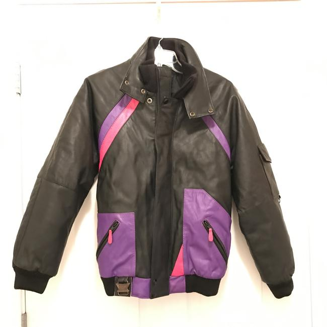 CKX International Vintage Bomber Activewear Winter Black Multi Leather Jacket