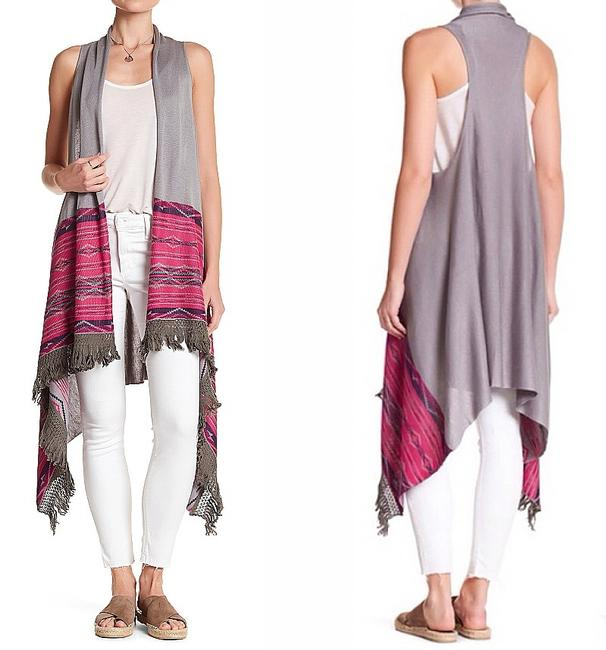 Aratta Oversized Fit Dropped Armholes Fringe Frayed Edge Trim Super Breezy Vest