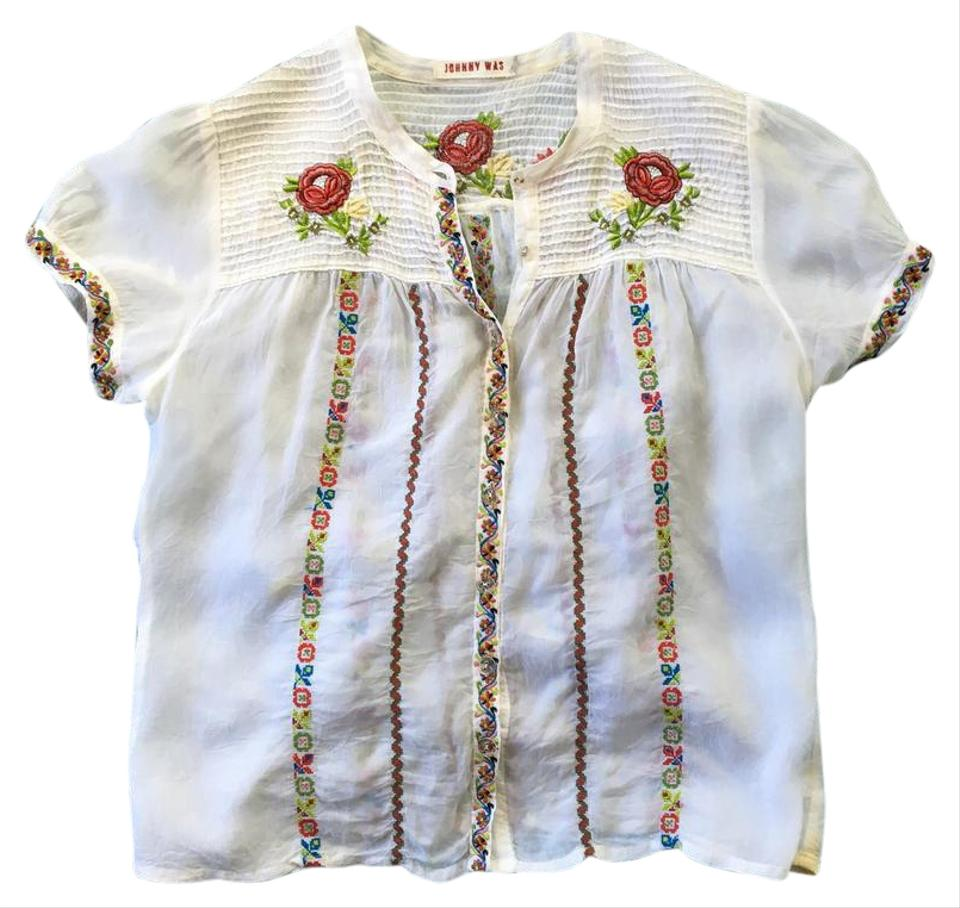 Johnny Was Cream White Silk Embroidered Blouse Small