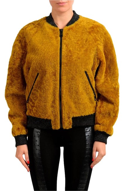 Item - Mustard Brown Women's Lamb Fur Full Zip Bomber Jacket Size 4 (S)