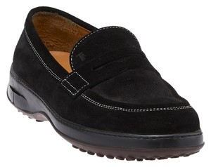 Tod's Suede Loafers Black Flats