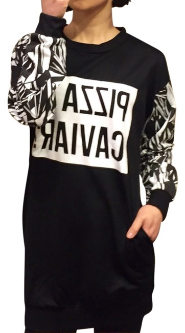 Preload https://img-static.tradesy.com/item/2218696/black-and-white-nwot-pizza-or-caviar-pullover-short-casual-dress-size-os-one-size-0-0-650-650.jpg