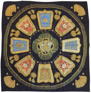 "Herms Authentic Hermes 100% Silk Scarf ""Poste et Cavalerie""."