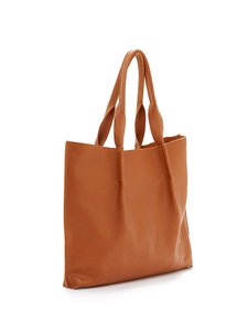 Eileen Fisher Natural Leather Tote In Golden Henna