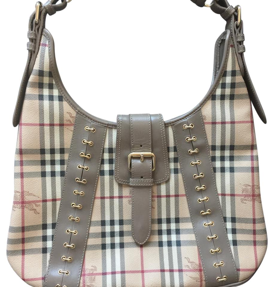 2b6dd2fb484a Burberry Novacheck Pattern Print Taupe Leather Shoulder Bag - Tradesy