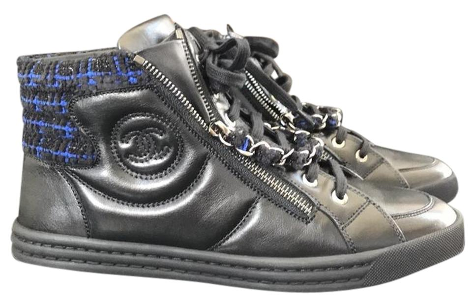 efc7492de16 Chanel Black Trainers Sneakers High Top Leather Chain Flats Sneakers ...