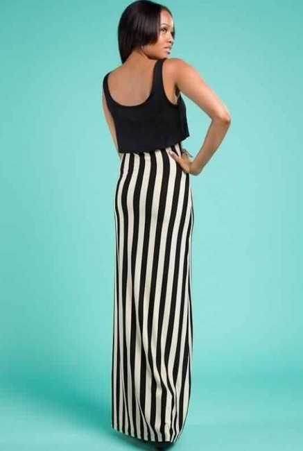Black & Off white Maxi Dress by sugar and spice