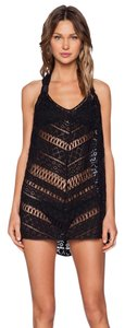 MILLY Milly Women's Draped Crochet Swimsuit Cover Up Tunic, Black, Large