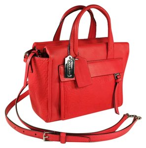 Coach Mini Bleeker 27923 Leather Purse Crossbody Satchel in Coral