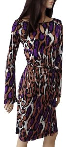 FLORA KUNG Bell Sleeves Jersey Longsleeve Leopard Dress