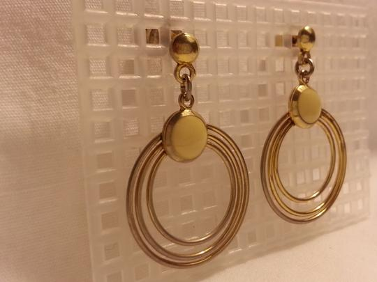 Vintage Beautiful Vintage Enamel Pierced Ivory & Gold Hoop Earrings