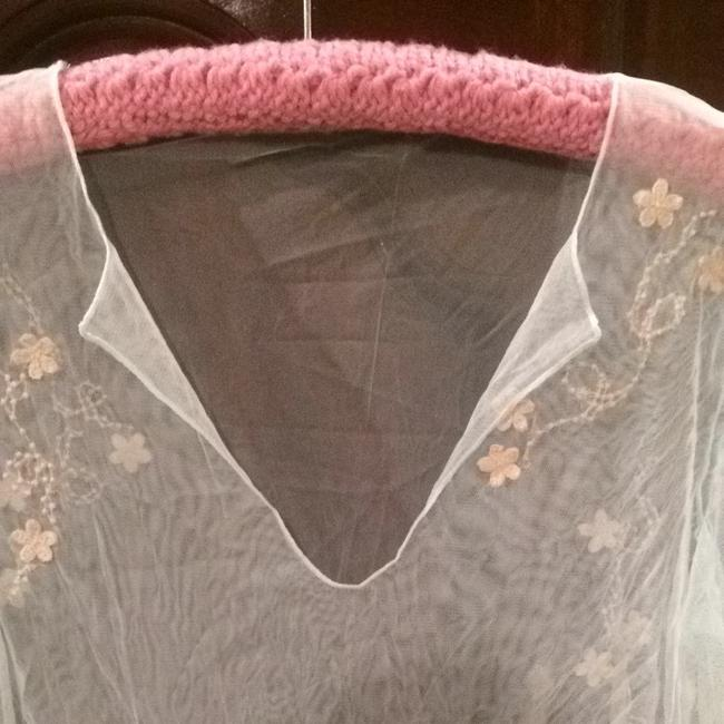 Other Cover-up Sheer Lace Longsleeve Top Blue