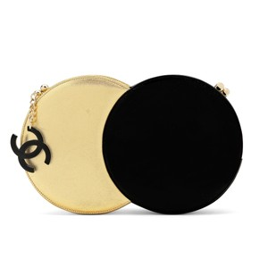 Chanel Circle Runway Minaudiere Black and Metallic Gold Clutch