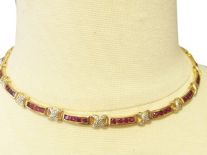 Technibond Technibond 19 Inch Created Red Corundum and Diamond-Accented X-Link Necklace