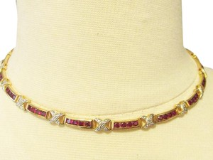 Technibond RARE Technibond Created Red Corundum X-Link Necklace