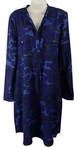 Gap Print Shift Pockets Longsleeve Polyester Dress