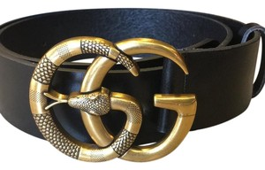 f8f1f034cd9 Gucci Black Leather with Double G Buckle with Snake Belt - Tradesy