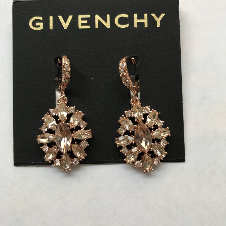Red Givenchy Chandelier Earrings: Givenchy Rose Gold Gold-tone Crystal Cluster Chandelier