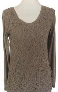 Vanity Lace Tshirt Blouse Top Taupe