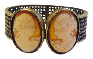 AMEDEO AMEDEO 30mm Double Cornelian Cameo Basketweave Hinged Cuff Bracelet Fits 7 1/2 to 8 Inch Wrist