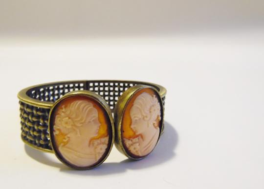 AMEDEO AMEDEO Cameo Basketweave Hinged Cuff Bracelet