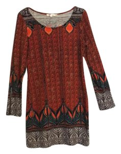 Aryeh short dress Orange, Rust, Brown, Turquoise Longsleeve Sweater Aztec Pattern Midi on Tradesy
