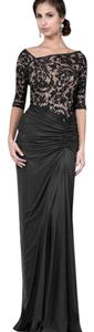 Tadashi Shoji Lace Ruched / Draped Full Length Gown 1/2 Sleeve Dress