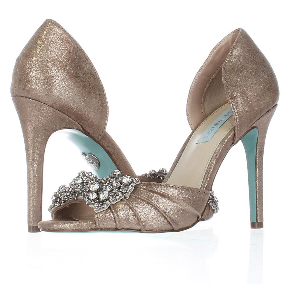 Betsey Johnson Silver Blue By Gown Dress Sandals Metal Display Pumps ...