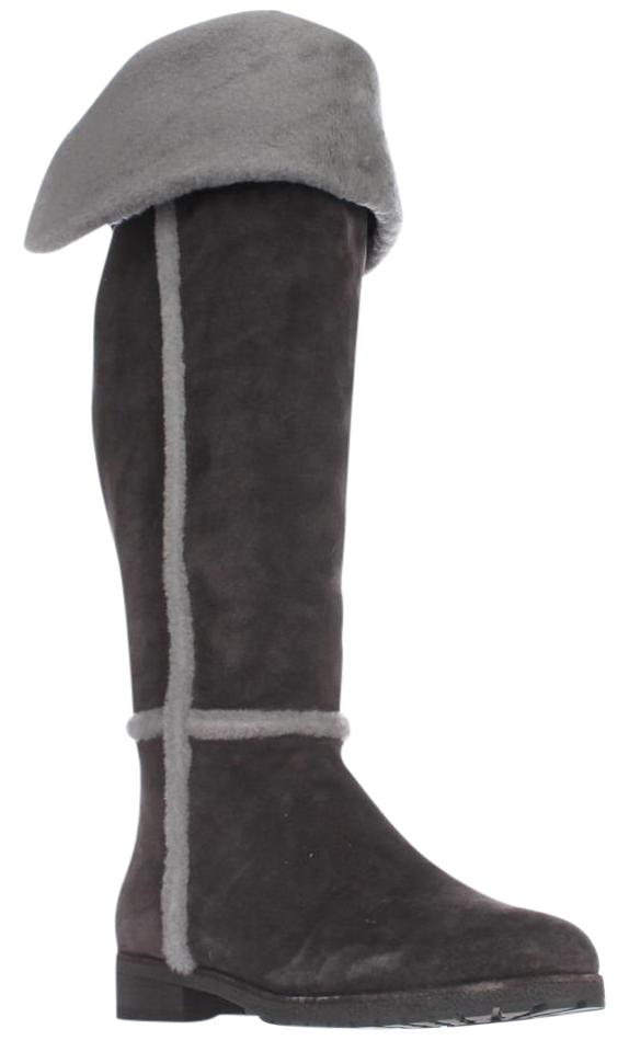 7697ff24a9c Frye Grey Tamara Over-the-knee Shearling Lined Smoke Boots Booties ...