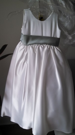 Soft White/Ivory With Sage Ribbon Flower Girl Dress