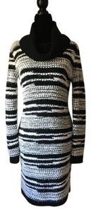 Black and White Maxi Dress by Calvin Klein Sweater Turtleneck Long &