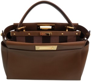 Fendi Leather Gold Hardware Structured Tote in Brown