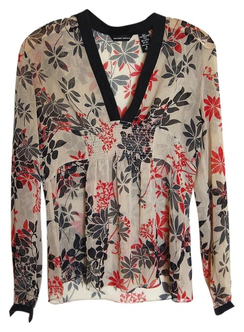 Item - Floral Red Black Tan Long Sleeve Blouse Size 6 (S)