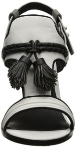 L.A.M.B. Leather White Black and Grey Sandals