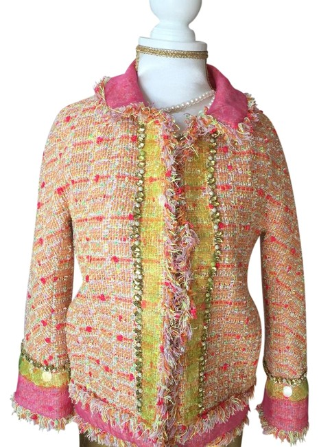 Item - Yellow and Pink Tweed Blazer Size 2 (XS)