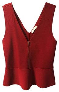 A.L.C. Peplum Structured Chic Sleeveless Evening Top Red