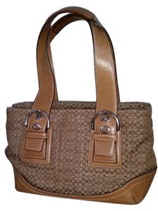 Coach Signature Buckle Signature Satchel in Beige