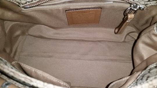 Coach Buckle Signature Satchel in Beige
