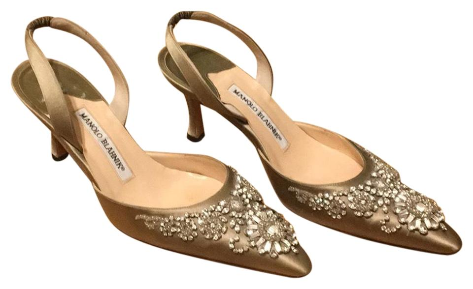 ede2252576f Manolo Blahnik C Carolynese Crystal Embellished Satin Slingback Heels  Formal Shoes