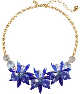 Kate Spade Kate Spade Blooming Brilliant Gold Plated Resin Blue Blossom Flower Necklace. NWT