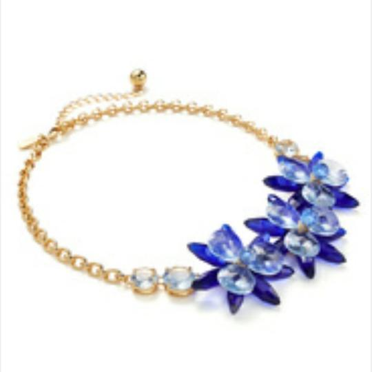 Kate Spade Kate Spade Blooming Brilliant Gold Plated Resin Blue Blossom Flower Necklace. NWT Image 2