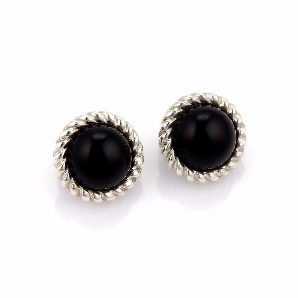 Tiffany Co Sterling Silver Onyx Cable Wire Round Clip On Earrings