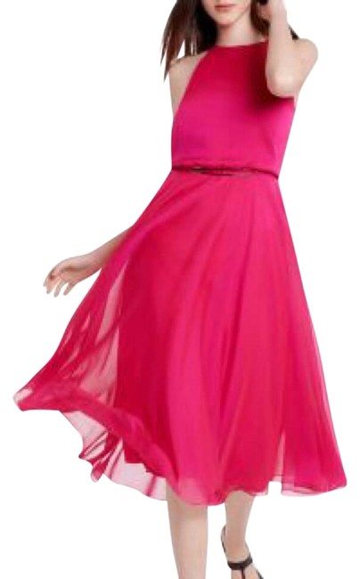 Halston Pink Magenta Cutout Back Fit & Flare Mid-length Cocktail Dress Size 4 (S) Halston Pink Magenta Cutout Back Fit & Flare Mid-length Cocktail Dress Size 4 (S) Image 1