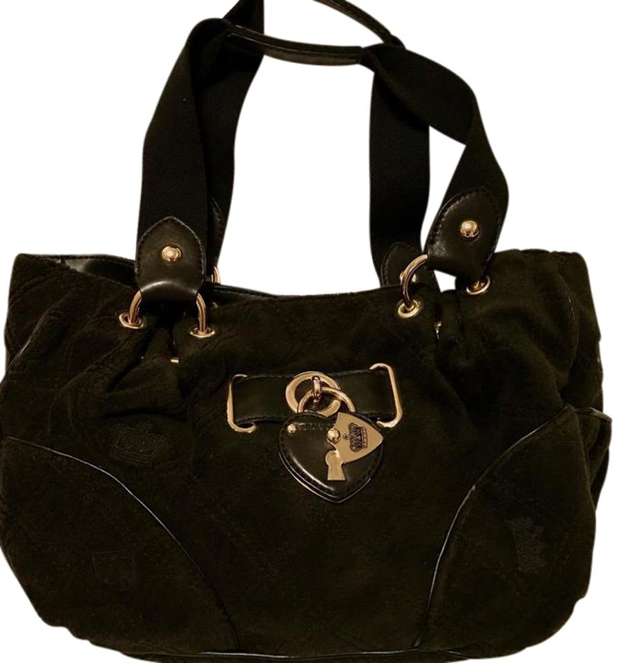 9f2fdb0910 Juicy Couture Purse Black Suede Leather Satchel - Tradesy