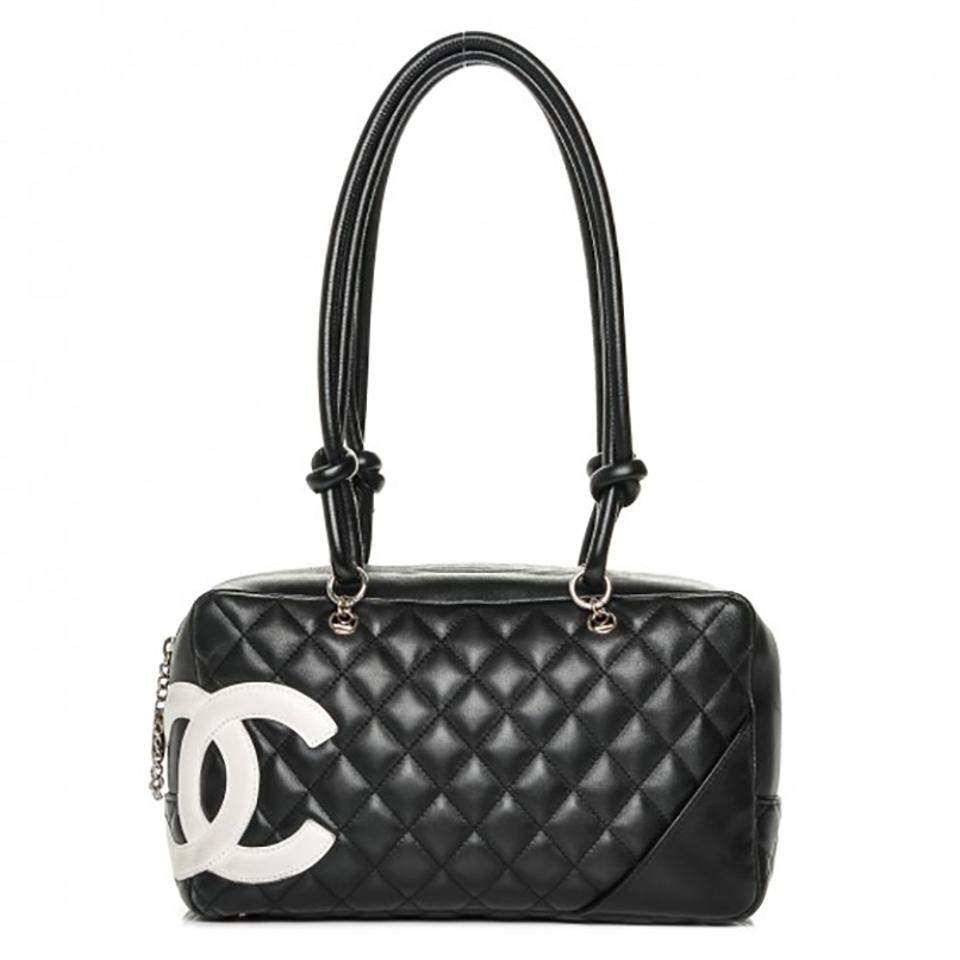 ac53756e10e5 Chanel Cambon Ligne Quilted Large Bowler Black Calfskin Leather ...