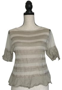 Sarah Pacini Striped Bold Stripe Crop Sheer T Shirt Taupe