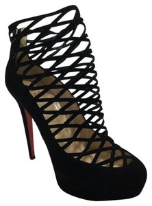 Christian Louboutin Berlinissimo Suede Bootie Black Platforms