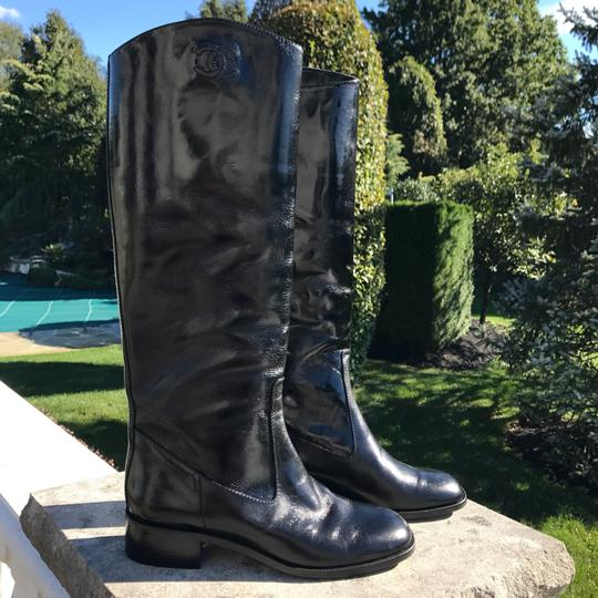 Chanel Classic Leather Flat Riding Knee High Black Boots